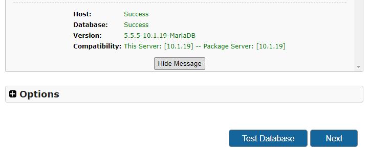 Duplicator instalace test databáze