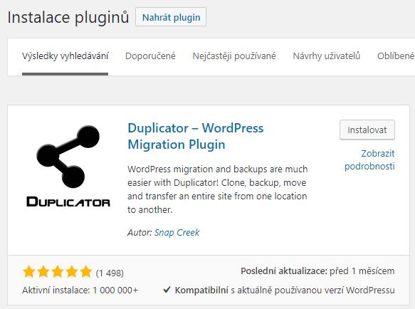 Instalace pluginu Duplicator