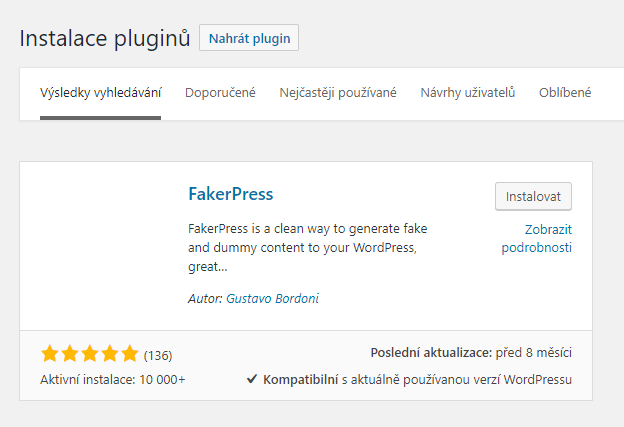 WP plugin FakerPress